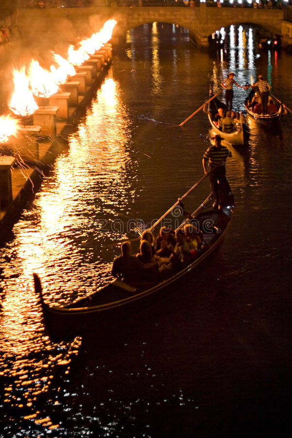 Gondolas at Night. Gondolas on the canal at night during a Providence Rhode Island WaterFire event stock photo