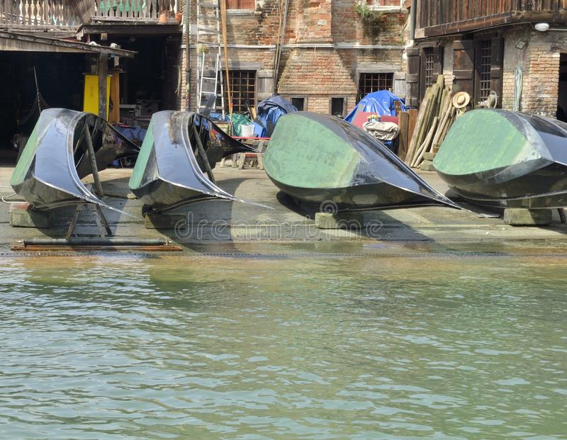 Gondolas for repairing. Gondolas in San Trovaso repair yard, Venice, Italy stock photo