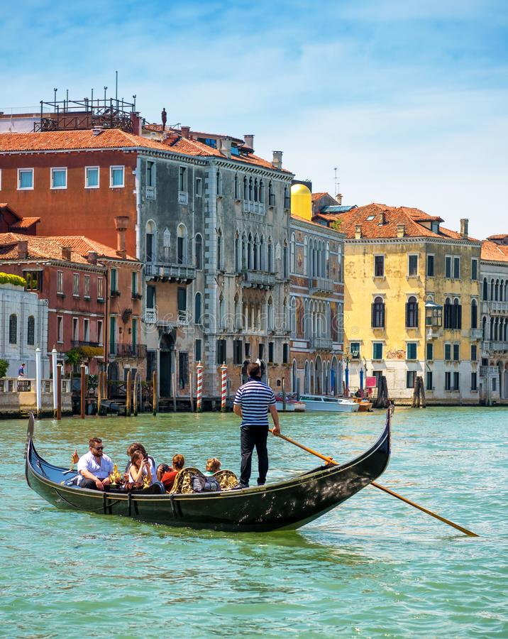 Gondolas are sailing along the Grand Canal in Venice stock photography