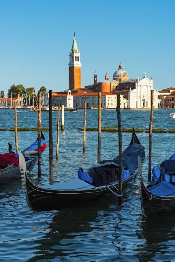 Gondolas and San Giorgio Maggiore Island, Venice, Italy stock photography