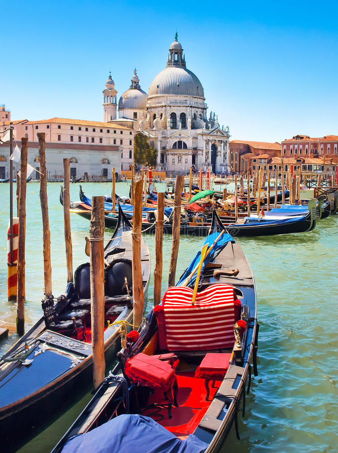Gondolas with Santa Maria della Salute in Venice royalty free stock photography
