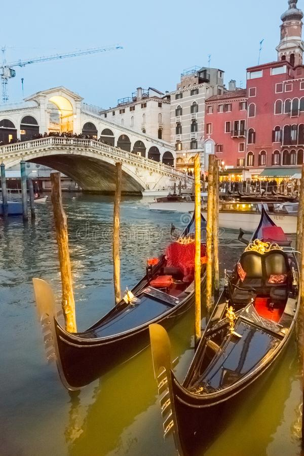 Gondolas at Sunset in Venice royalty free stock images