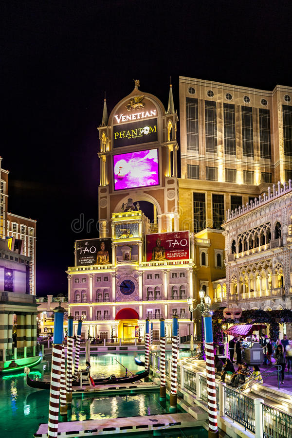 Gondolas at the Venetian Resort Hotel & Casino stock photography