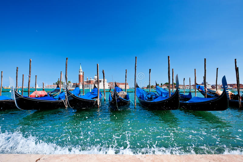 Download Gondolas in Venice stock image. Image of panoramic, nautical - 15458437