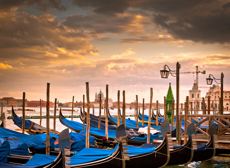 Download Gondolas in Venice stock photo. Image of relax, clouds - 25467614