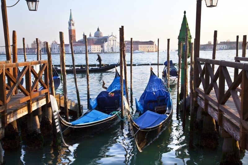 Gondolas in Venice, Italy. Gondolas in Venice in Piazza San Marco, Italy stock image