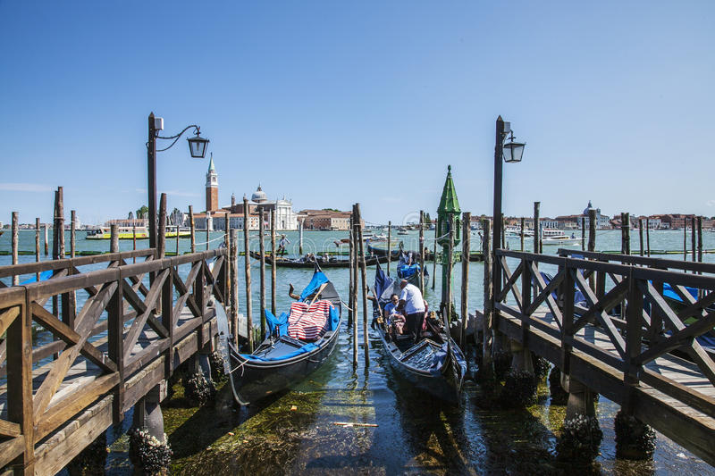 Gondolas in Venice, Italy. royalty free stock photo