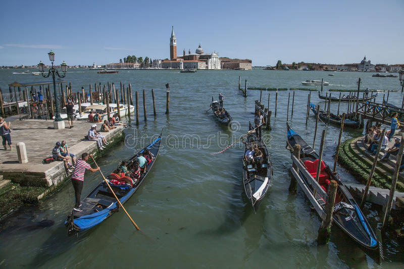 Gondolas in Venice, Italy/the view of the San Giorgio Maggiore. stock photos