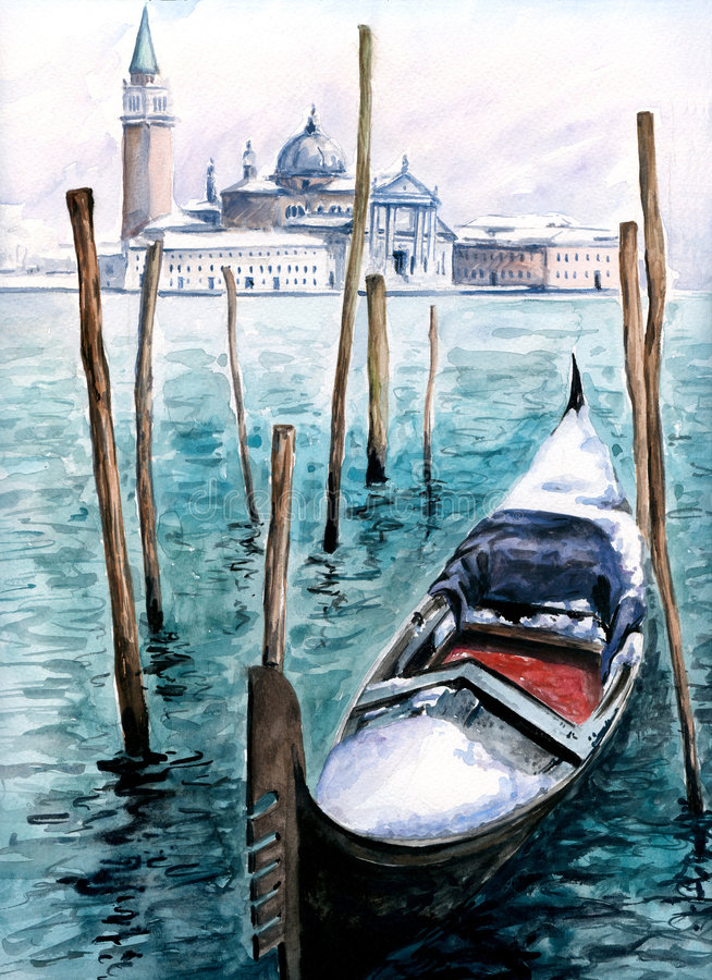 Gondole en hiver illustration stock