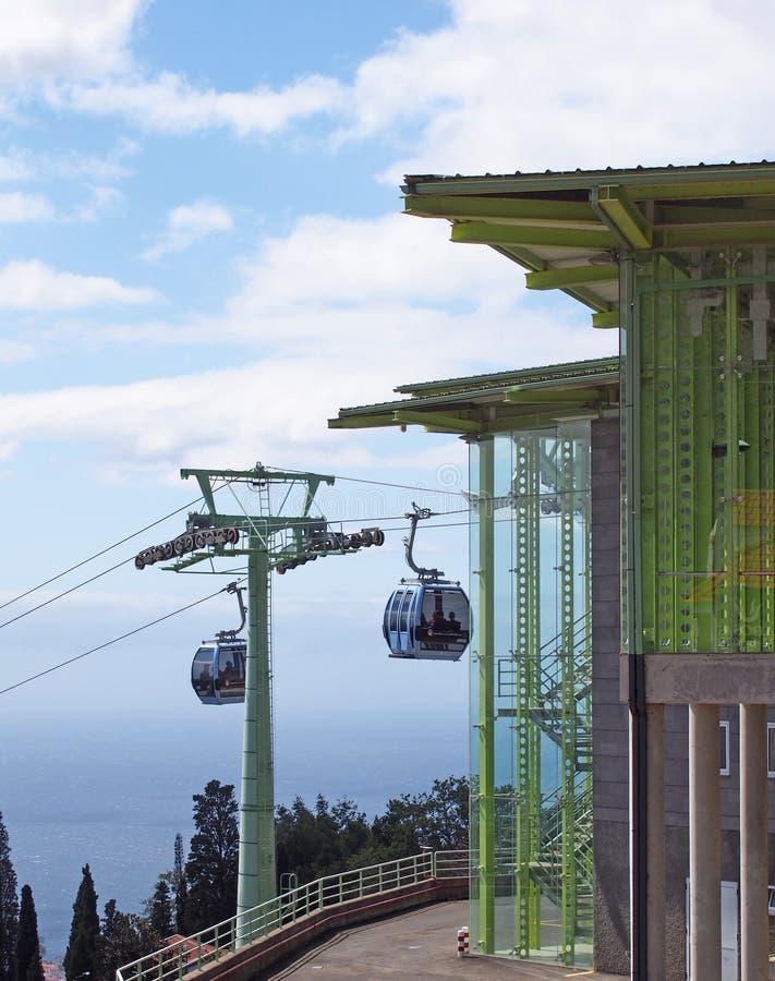 Gondole na zewnątrz zasięrzutnej wagon kolei linowej stacji w monte bieg od Funchal w Madeira z niebieskim niebem i morza w tle obraz royalty free