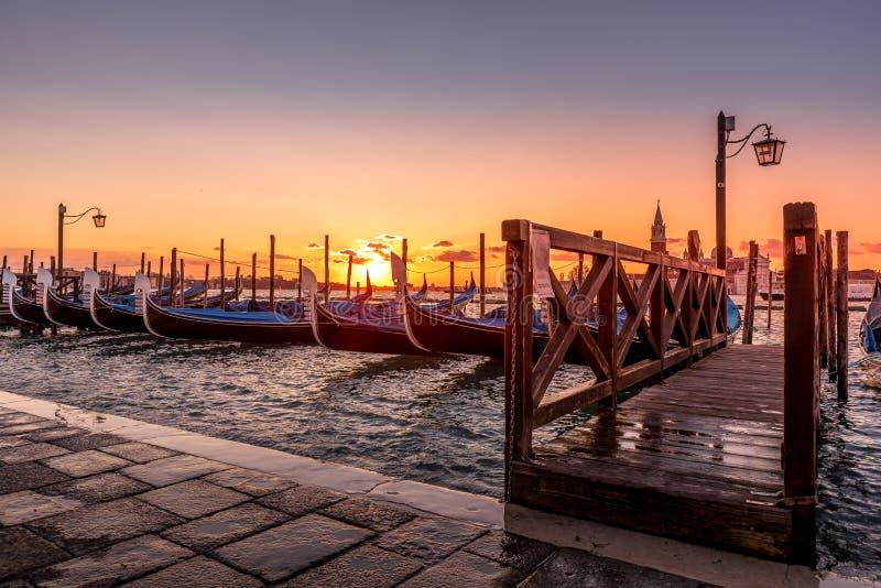 Gondole in San Marco Square - Venetië Italië royalty-vrije stock afbeelding