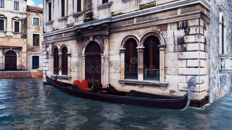 Gondole vénitienne amarrée sur le canal de l'eau à Venise illustration stock