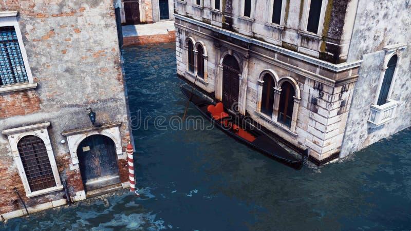 Gondole vénitienne sur un canal dans la vue aérienne de Venise illustration stock