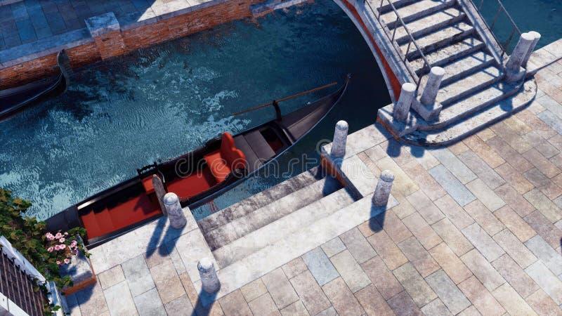 Gondole vénitienne vide amarrée sur une vue supérieure de canal illustration libre de droits