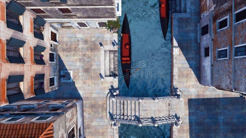 Gondole vide sur le canal de l'eau dans la vue aérienne de Venise illustration stock