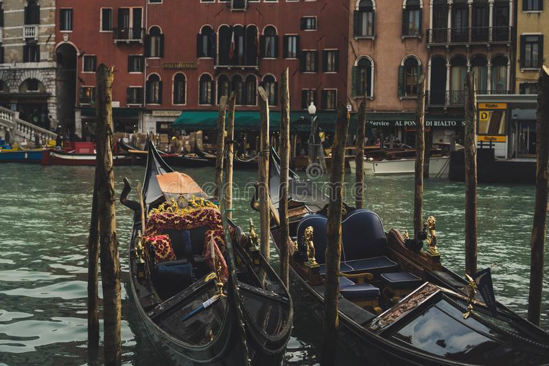 Gondole w kanałach Venice Europe zdjęcia stock