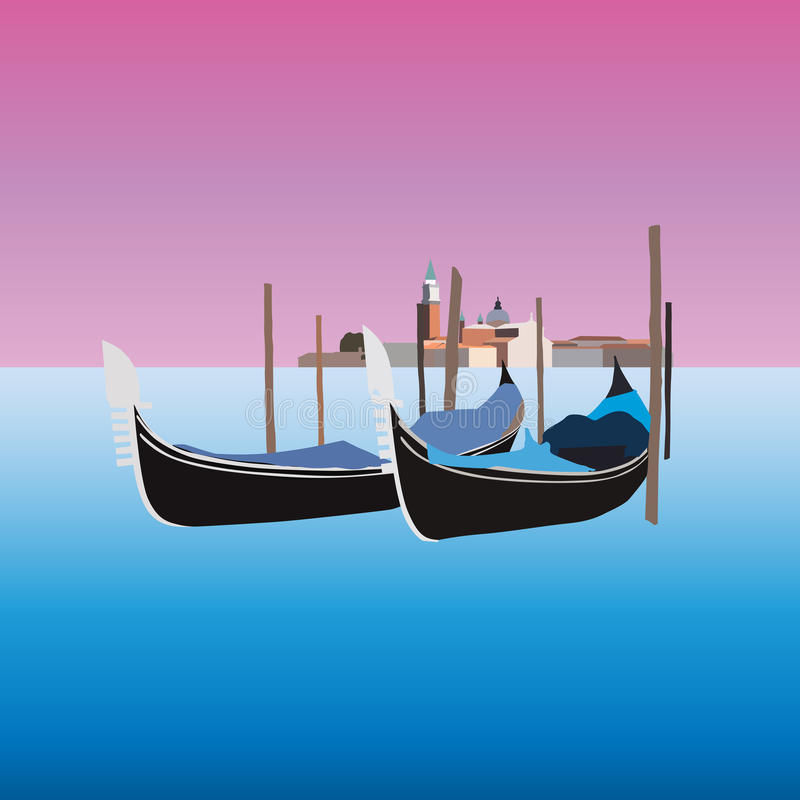 Gondole w Wenecja Włochy, wektorowa ilustracja royalty ilustracja