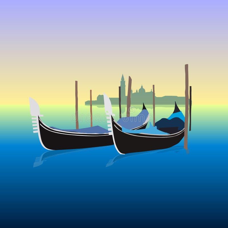 Gondole w Wenecja Włochy, wektorowa ilustracja ilustracja wektor