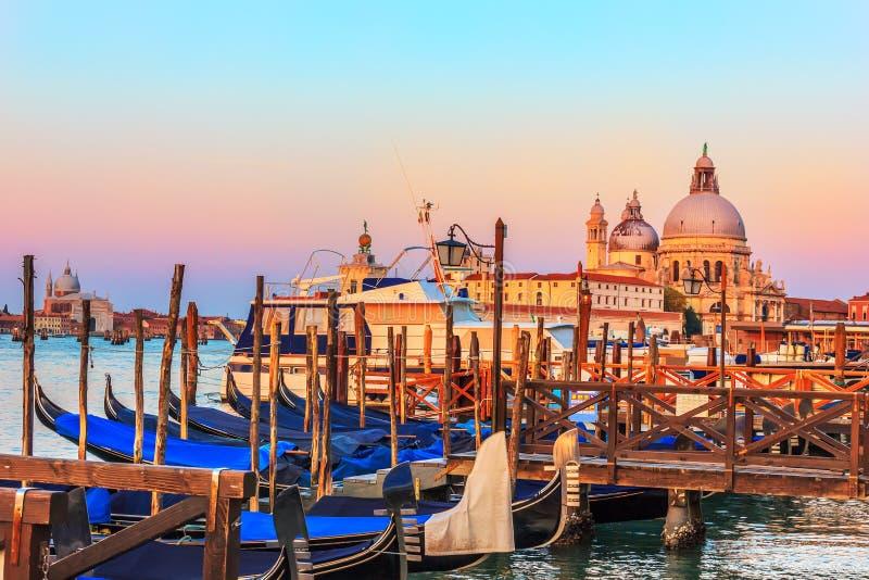 Gondoler framme av Santa Maria della Salute Church i Venedig royaltyfri foto