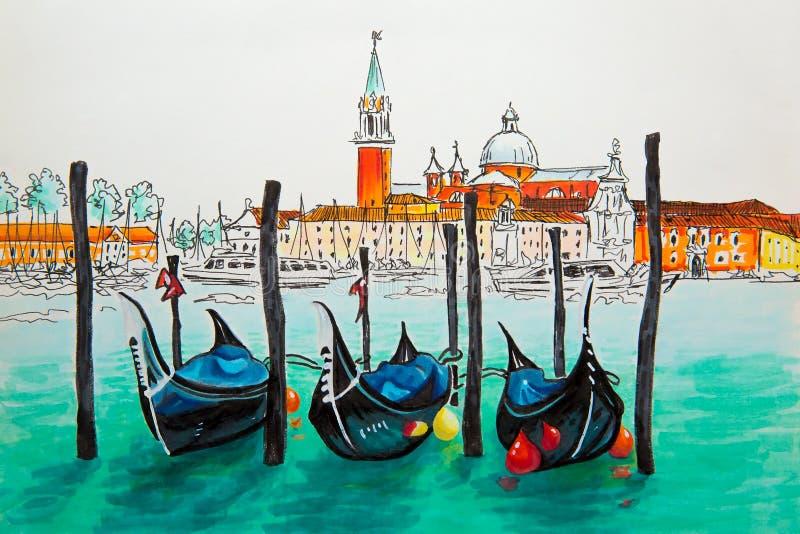 Gondoler i den Venedig lagun, Italia royaltyfri bild