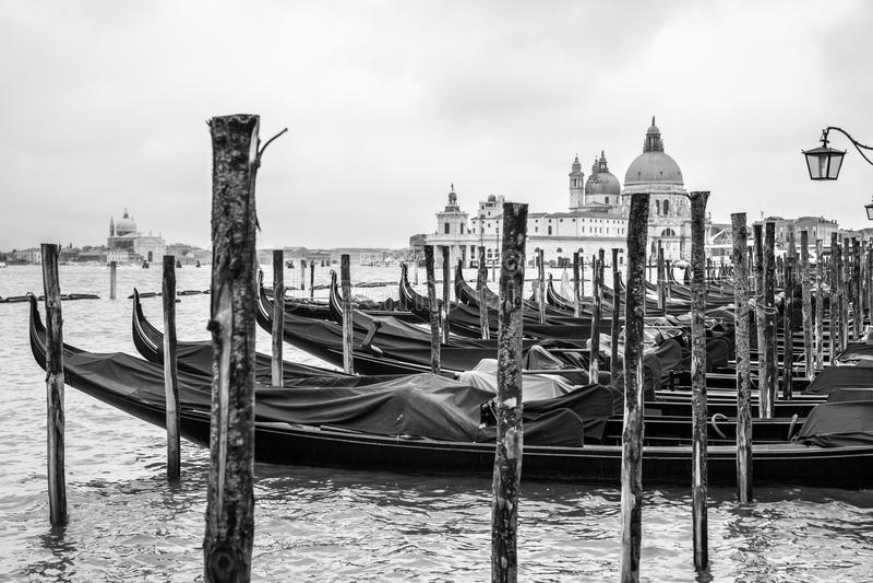 Gondoler och Santa Maria della Salute royaltyfria foton