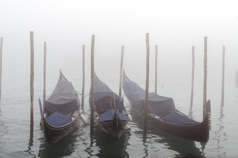 Gondoler vid den St Mark fyrkanten under dimmig soluppgång royaltyfri foto