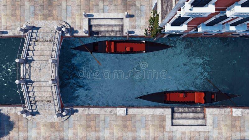 Gondoles vides sur le canal de l'eau dans la vue supérieure de Venise illustration de vecteur