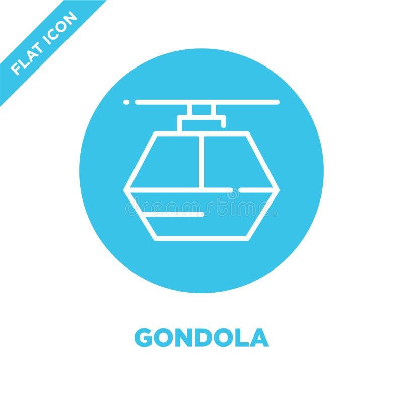 gondoli ikony wektor Cienka kreskowa gondola konturu ikony wektoru ilustracja gondola symbol dla używa na sieci i wiszącej ozdoby royalty ilustracja