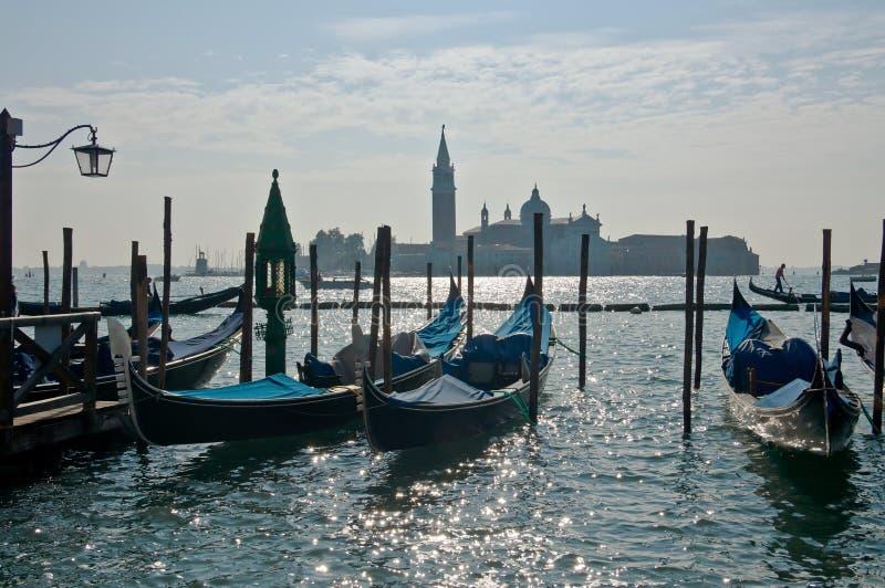 gondoli scena Venice fotografia royalty free