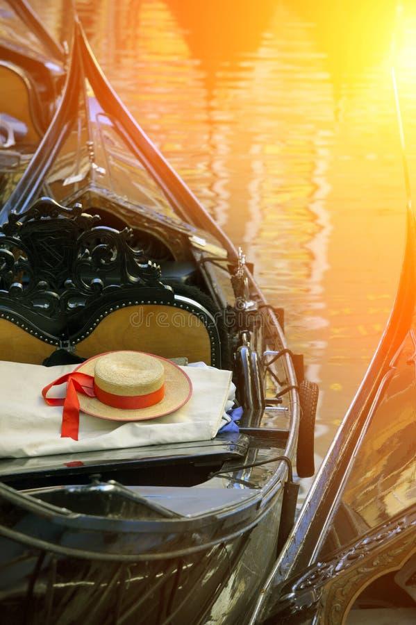 gondolier βαρκών άχυρο Βενετία κα&pi στοκ φωτογραφία με δικαίωμα ελεύθερης χρήσης