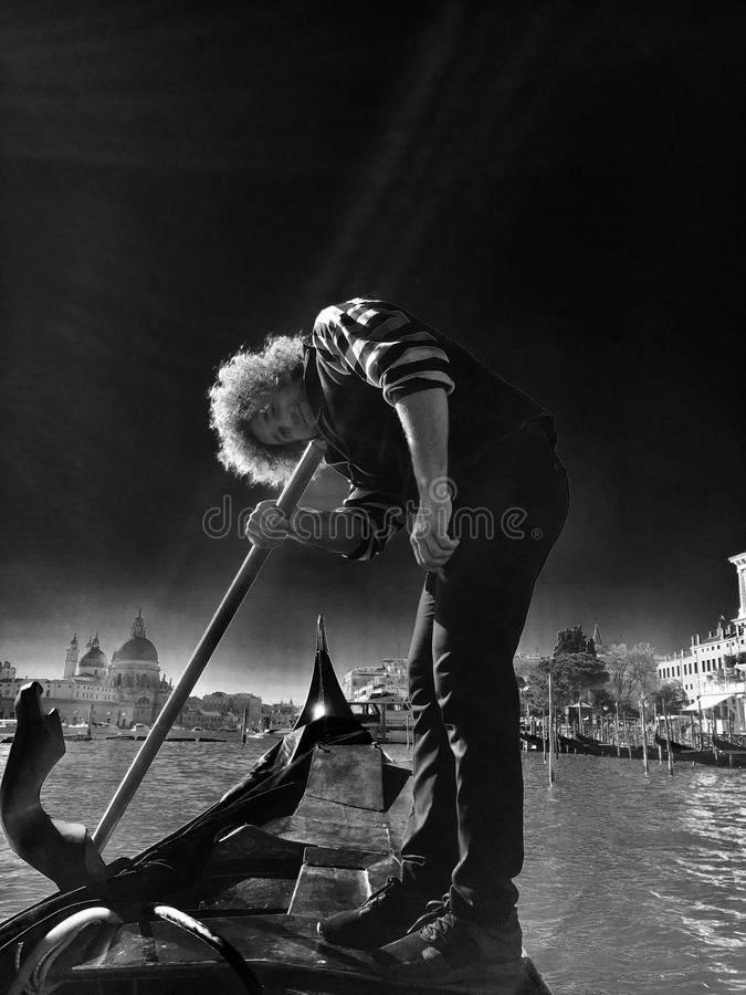 The Gondolier In Noir stock photography