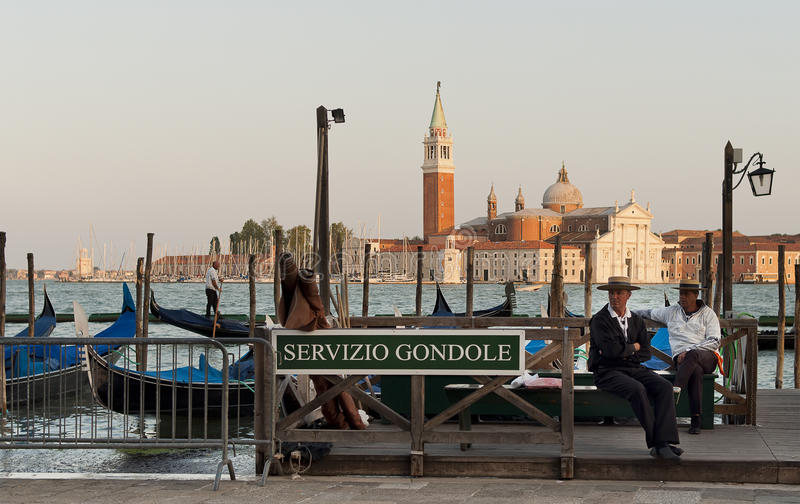 Gondoliers waiting for tourists