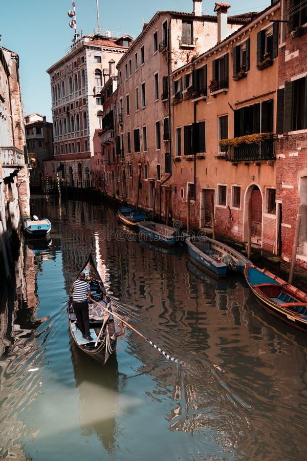 Gondolman i härliga Venedig arkivfoton