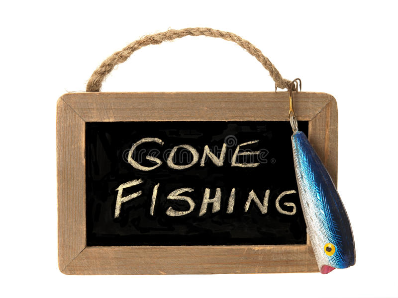 Download Gone fishing sign stock photo. Image of isolated, fishhook - 13262936