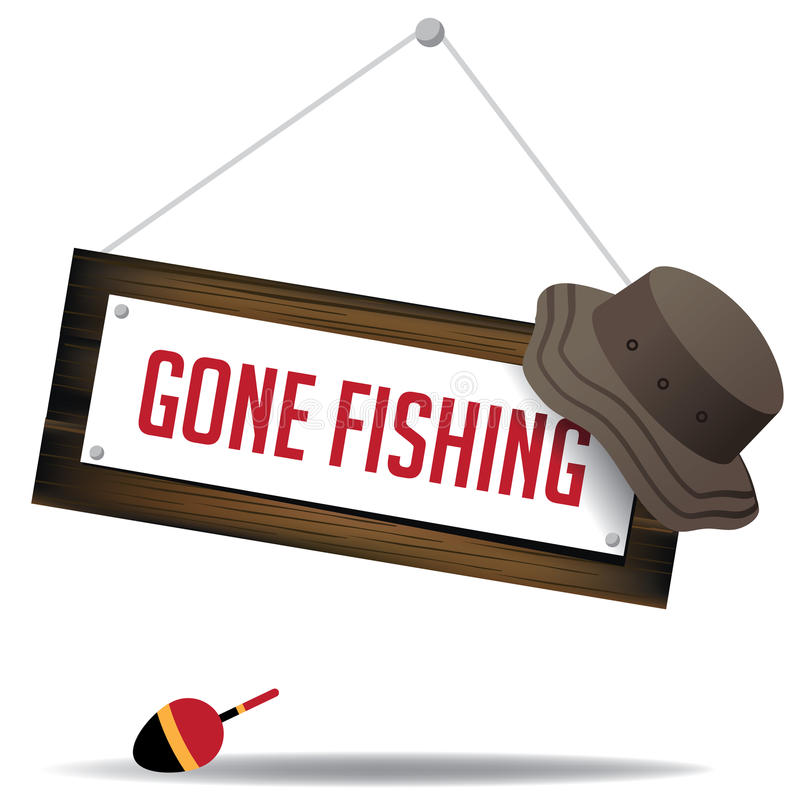 Gone fishing sign with hat and float eps 10 vector royalty free illustration