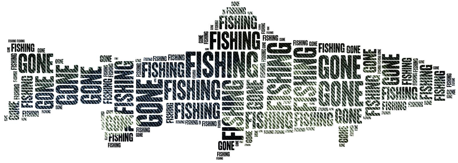 Gone fishing. Word cloud illustration. royalty free illustration