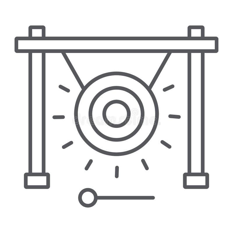 Gong cienka kreskowa ikona, muzyka i dźwięk, chiński instrumentu znak, wektorowe grafika, liniowy wzór na białym tle ilustracja wektor