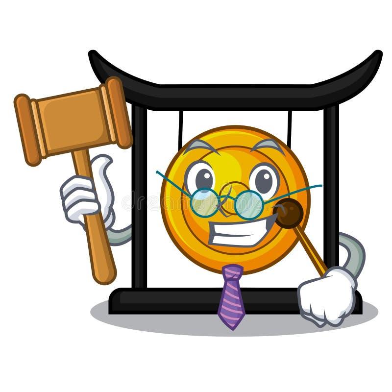 Gong d'or de minuatur de juge dans la forme de bande dessinée illustration libre de droits