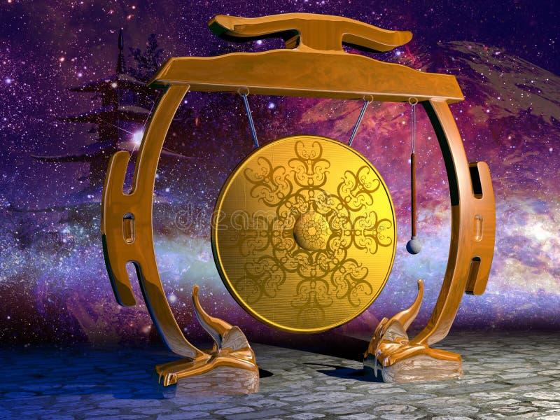 Gong en sterren royalty-vrije illustratie