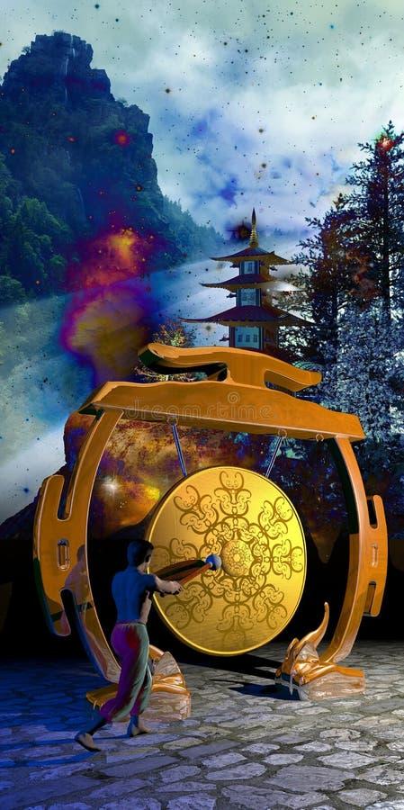 Gong en sterrig landschap stock illustratie