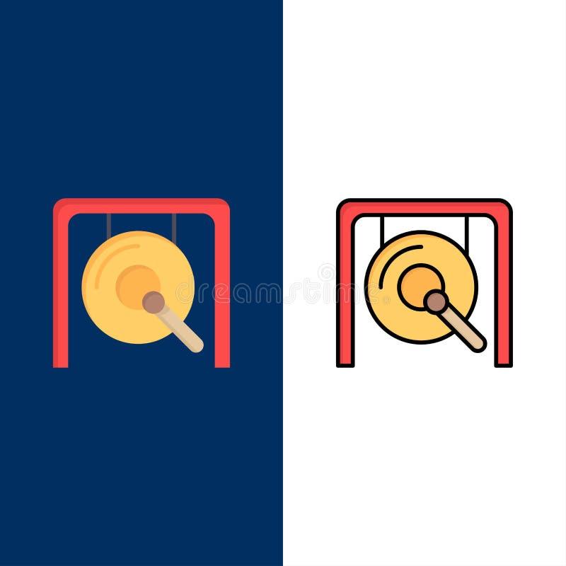 Gong musik, Kina, kinesiska symboler Lägenheten och linjen fylld symbol ställde in blå bakgrund för vektorn vektor illustrationer