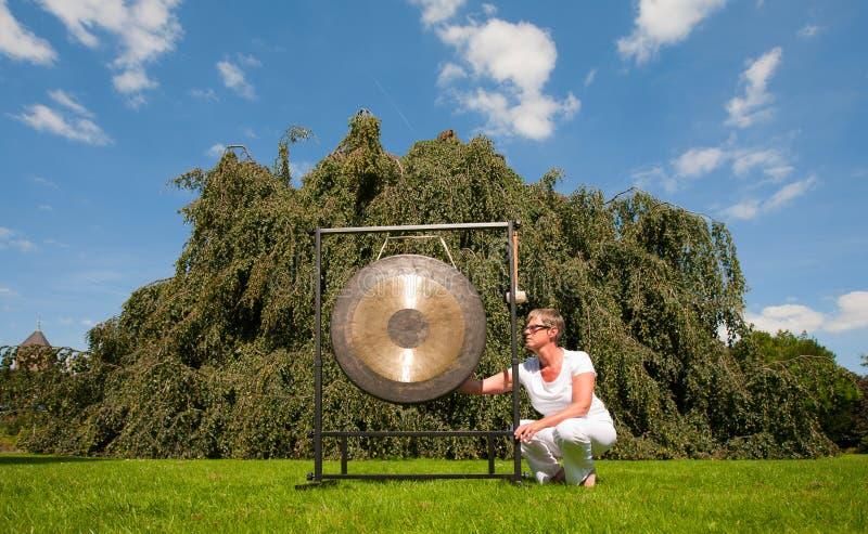 Download Gong sound healing stock image. Image of ritual, hanging - 26950439