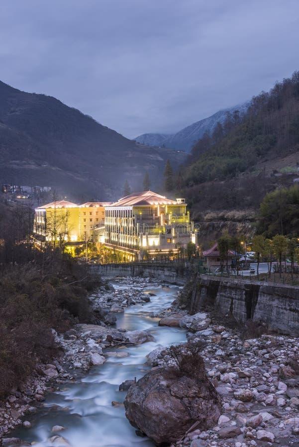 Gongga Shengtang Hot Spring Hotel stock image