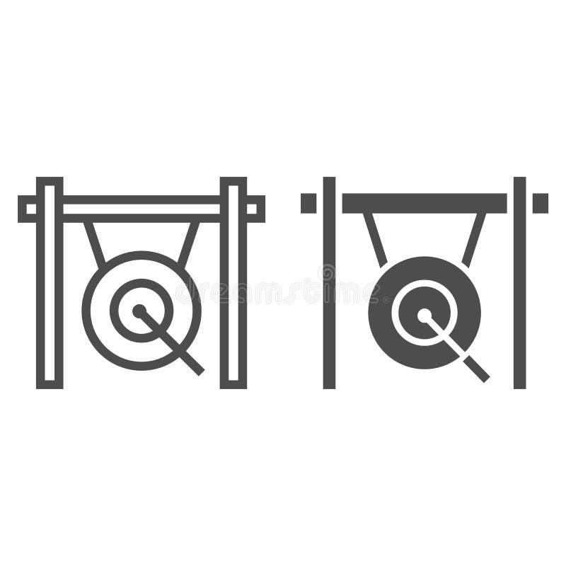 Gonglinje och skårasymbol, musikal och porslin, instrumenttecken, vektordiagram, en linjär modell på en vit bakgrund stock illustrationer
