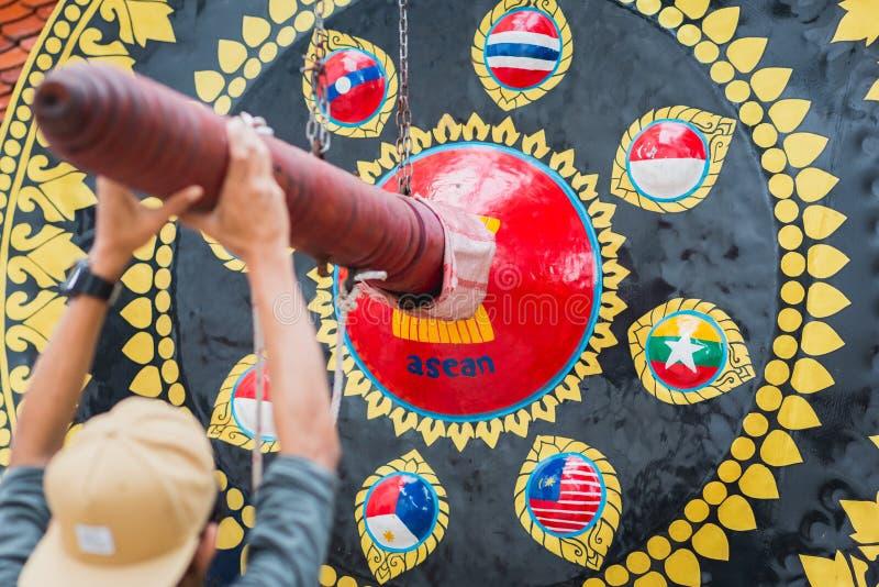 Gongo do ASEAN em Banguecoque imagens de stock royalty free