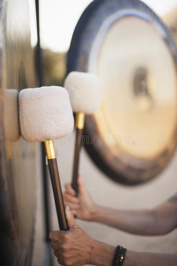 Sound Healing Gongs. Gongs waiting to be played. The Gong is one of man's most powerful and oldest transformational and therapeutic instruments royalty free stock photography