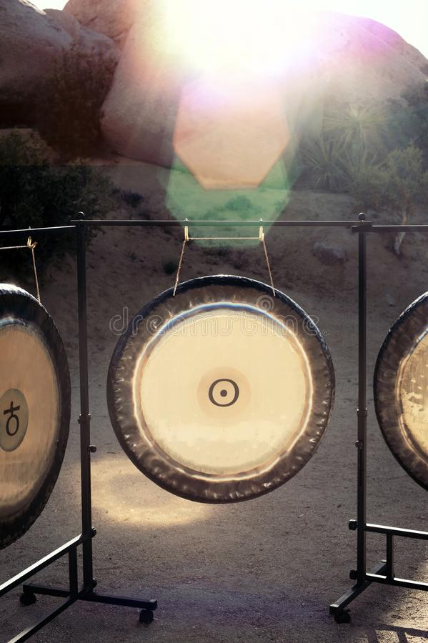 Sound Healing Gongs. Gongs waiting to be played. The Gong is one of man's most powerful and oldest transformational and therapeutic instruments. It has royalty free stock images