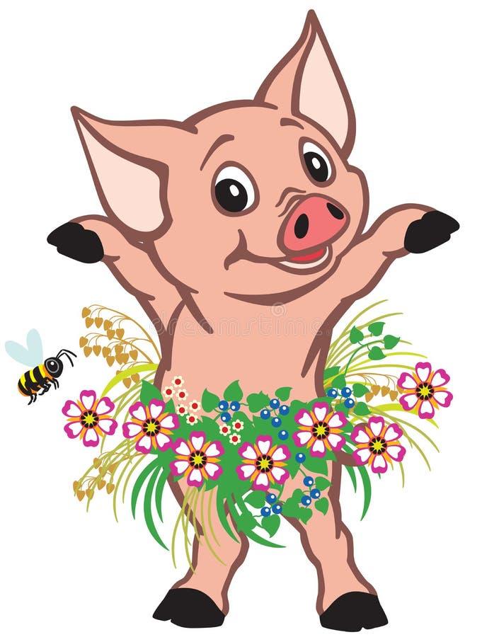 Gonna d'uso del piccolo maiale del fumetto dei fiori illustrazione vettoriale