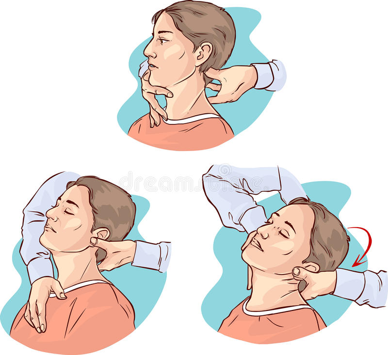 Gonstead Chiropractic for acute neck pain. A vector image illustration Gonstead Chiropractic for acute neck pain royalty free illustration