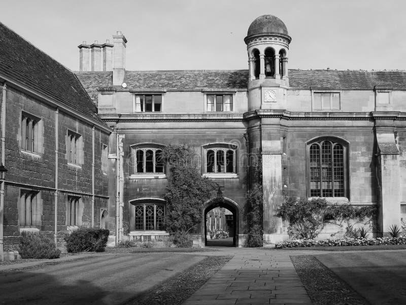 Gonville και κολλέγιο Caius στο Καίμπριτζ σε γραπτό στοκ εικόνα